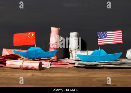 Concurrence et confrontation commerciales entre la Chine et les États-Unis Banque D'Images
