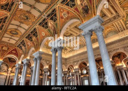 Murs et plafond, Mezzanine de la Grande Salle, la Bibliothèque du Congrès, Washington D.C., Etats-Unis d'Amérique, Amérique du Nord Banque D'Images