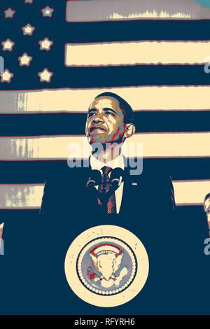 Le président des États-Unis Barack Obama parle aux militaires et civils lors de sa visite au Camp Lejeune, N.C., le 27 février 2009. La Présidence Banque D'Images