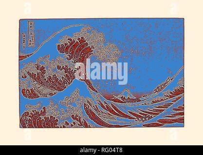 Katsushika Hokusai , Kanagawa oki nami ura (dans le puits de la grande vague de Kanagawa), de la série.jpg - RG04T8 Banque D'Images