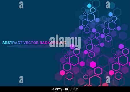 Arrière-plan géométrique hexagonale. Hexagones et génétiques réseau social. Modèle géométrique de l'avenir. La présentation d'affaires pour votre conception et texte Banque D'Images