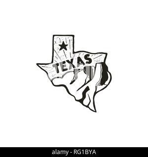 Dessiné à la main vintage badge badge de l'état du Texas, aux États-Unis. Icône de style Silhouette, logo. Avec les montagnes et les étoiles. Patch rétro, logotype. Pour Nice