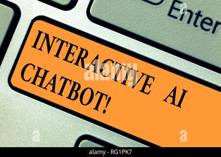 Texte de l'écriture manuscrite Ia Chatbot Interactive. Sens Concept programme informatique qui simule le huanalysis conversation touche clavier l'intention de créer des comp Banque D'Images