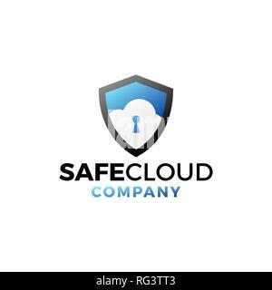 Coffre-fort moderne professionnel de conception de logo pour Modèle de Cloud Cloud Security Company Banque D'Images