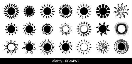 Black Sun icons set. Vector illustration et symboles. Banque D'Images