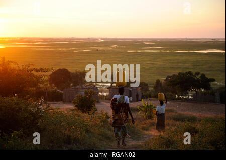 ZAMBIE Barotseland Mongu, Mulamba au fleuve Zambèze plaine d'inondation, les femmes portent jerry CAN avec de l'eau sur la tête, dans les terres d'inondation, la culture du riz est faite Banque D'Images