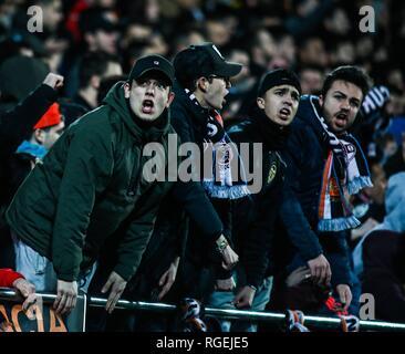 Fans de Valence lors de la ronde 1/4 de l'espagnol King Cup match de football entre Valence CF et Getafe CF Le 29 janvier 2019 dans le stade Mestalla de Valence, Espagne. Appuyez sur cordon Banque D'Images