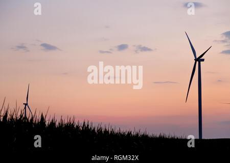 Silhouette à turbine moulin rouge et orange ciel coucher de soleil nuageux avec champ de maïs silhouette devant Banque D'Images