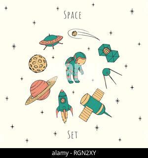 Vecteur dessiné à la main les éléments d'espace: cosmonaute, satelites, rocket, planètes, étoiles chute et OVNI. Situé dans cosmos coloré couleurs rétro. Banque D'Images