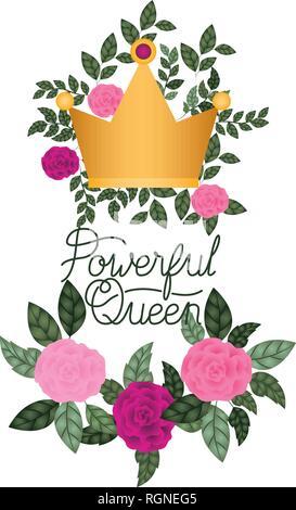 Reine puissant label avec roses icône isolé Banque D'Images