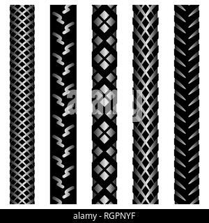 Ensemble de cinq silhouettes de dégradé noir des traces de pneus de vélo isolé sur fond blanc Banque D'Images