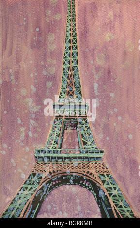 Fine art peinture de la Tour Eiffel au coucher du soleil à Paris, France Banque D'Images
