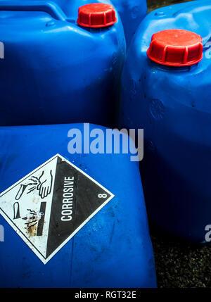 Indice de transport de matières corrosives à l'emballage de l'acide Banque D'Images