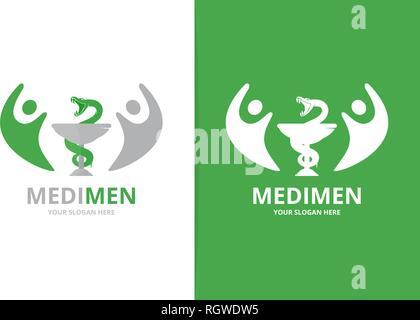 La médecine et les gens vecteur combinaison logo. Pharmacie et symbole de la famille ou de l'icône. L'équipe d'ambulance et unique modèle de conception de logo. Banque D'Images