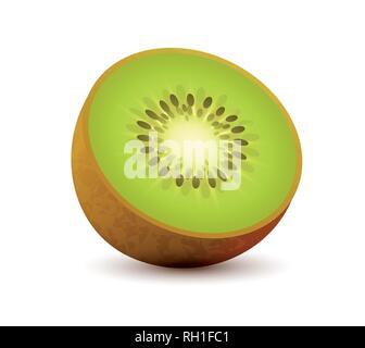 Icône vecteur réaliste de Kiwi, des tranches de fruits tropicaux juteux isolated on white
