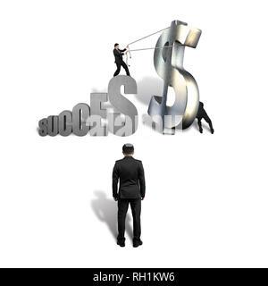 Le travail d'équipe à l'article grand symbole de réussite de l'argent fond blanc Banque D'Images