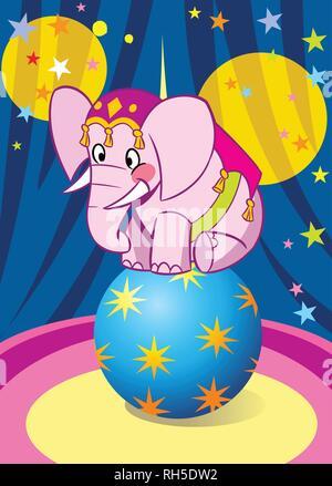 Bébé éléphant rose performance dans circus. Il est dansant sur la big blue ball.illustration faite sur des calques distincts.