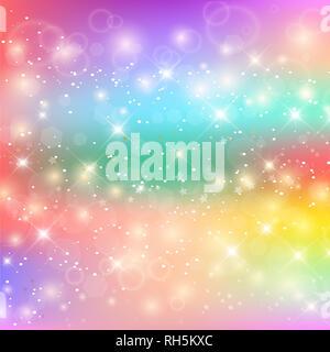 Rainbow Unicorn Arrière-plan. Ciel holographique dans des tons pastels. Mermaid Princess lumineux en couleurs. L'illustration. Fantaisie colorée Backdr Gradient Banque D'Images