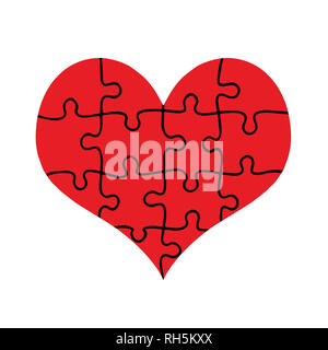 Coeur rouge assemblé de pièces de puzzle isolé sur fond blanc. L'amour, le mariage, la charité. Modèle plat. Jigsaw avec tous les morceaux assemblés formant B Banque D'Images