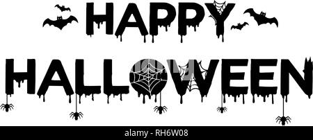 Vector affiche avec type d'Happy Halloween avec bat, spider et web isolé sur fond blanc. Pour la bannière, carte de vœux, invitation à une fête Banque D'Images