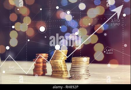 Résumé de graphiques boursiers graphique avec coins et Arrière-plan flou Concept d'entreprise