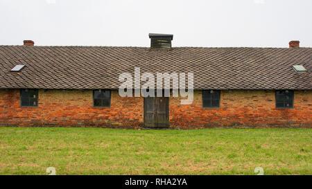 Dans la caserne d'Auschwitz II Birkenau camp de concentration en Pologne Banque D'Images