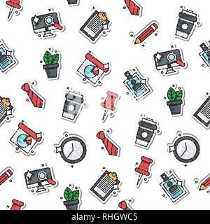 Les icônes de bureau aux couleurs tendance. Illustration vectorielle, EPS 10 Banque D'Images
