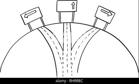 Tirage de trois façons Carrefour et flèche directionnelle Signalisation routière