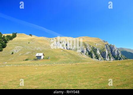 Vlasic montagne en Bosnie-Herzégovine, Shepherd's house on meadow Banque D'Images