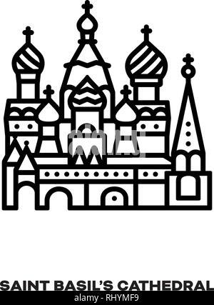Basilâ Saint à la cathédrale de Moscou, Russie, l'icône de la ligne du vecteur. Landmark International Tourisme et symbole.