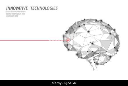 Traitement du cerveau low poly 3D render. Nootropique médicaments stimulant la capacité humaine smart de la santé mentale. Médicament La réadaptation cognitive dans la maladie d'Alzheimer