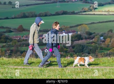 Couple de personnes marchant dans la campagne portant des chapeaux et des manteaux, marcher un chien un jour froid de l'automne à la South Downs dans le West Sussex, Royaume-Uni.