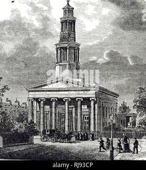 """Une gravure représentant la """"nouvelle"""" église St Pancras, Londres, consacrée par l'évêque de Londres en avril 1822. Conçu par William Inwood, l'édifice sur le modèle du Temple d'Erecthens, Athènes, le clocher de la Tour des Vents. Cariatides est en arrière-plan (à droite). La première église en Angleterre construit dans un style grec. En date du 19e siècle Banque D'Images"""