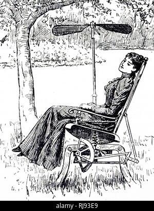 Une gravure représentant une jeune femme dans un jardin relaxant fauteuil à bascule, refroidissement elle-même avec un ventilateur. En date du 19e siècle Banque D'Images