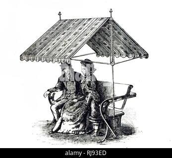 Une gravure représentant un couple sur un fauteuil de jardin, l'arrière de ce qui pourrait être orientée vers le bas pour former une table. En date du 19e siècle Banque D'Images