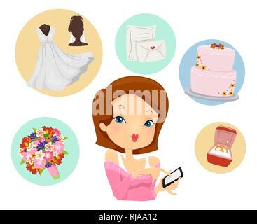 Illustration de a Girl Holding a Mobile Phone avec l'App montrant les icones de mariage Bouquet, robe nuptiale, Invitation, gâteau et joints toriques Banque D'Images