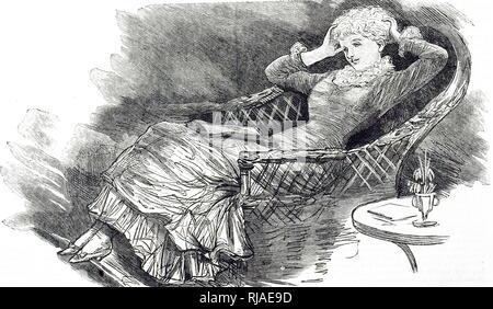 Une gravure représentant une jeune femme dans un fauteuil en osier qui s'étend elle-même et respirant profondément pour dissiper la somnolence après la lecture au coin du feu. En date du 19e siècle Banque D'Images