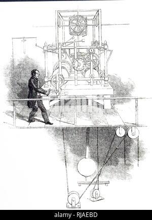 Une gravure représentant l'horloge dans la tour de St Ann's Church, Limehouse, Londres. En date du 19e siècle Banque D'Images