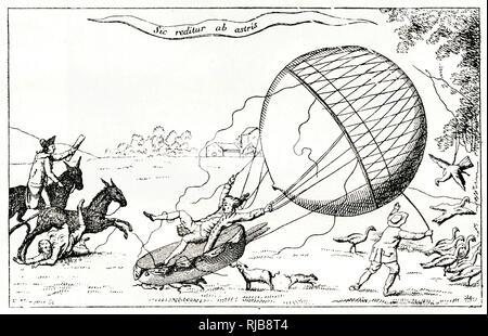 Dessin animé satirique, Blanchard aéronaute l'atterrissage dans un champ, l'origine de perturbations pour les personnes et les animaux. Banque D'Images