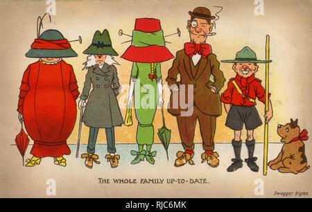 Toute la famille et à jour sur wagger' - 'SStyle. Carte postale bd - satire sur le penchant pour les femmes de porter des chapeaux de grandes et enveloppant durng de cette période. Banque D'Images