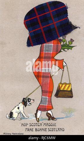 Hop Scotch Maggie - Frae Bonnie Scotland. Carte postale bd - satire sur le penchant pour les femmes à porter les grandes et enveloppant chapeau durant cette période. Aussi tous les stéréotype écossais a été shoehorned dans cette image... Banque D'Images