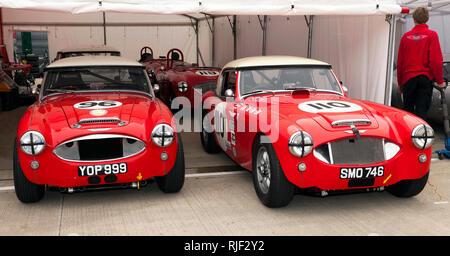 Vue de face de deux 1959, Austin Healey 3000 voitures de course est entré en le Gallet Trophée pour les voitures GT classique (pré 66') à la Silverstone Classic 2017