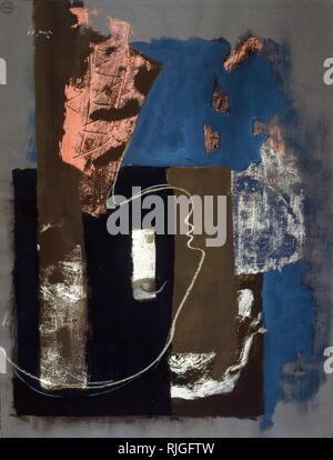 Peinture sans titre 1969; par Edgar (Erhard) Jene (1904 - 1984), peintre franco-allemand, artiste graphique et surréalistes. Banque D'Images