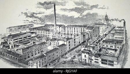 Une gravure représentant l'usine de Bermondsey appartenant aux chapeliers Christy & Co. en date du 19e siècle Banque D'Images
