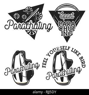 Parachutisme Vintage emblèmes. Voyage Air concept. Illustration vectorielle, EPS 10