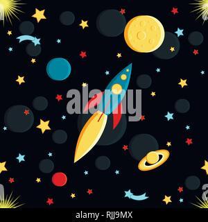 Vol de fusée sur la lune. Soleil, Saturne, la terre, les autres planètes, étoiles, comètes, de l'espace style cartoon motif transparent Banque D'Images