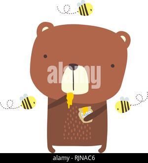 Cute Bear avec du miel et des abeilles jar sur isolé sur fond blanc. design pour bébé et chindren. hand drawn style. peut être utilisé pour la décoration de jardin, Banque D'Images