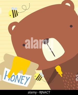 Close up illustration de cute bear avec du miel et les abeilles. jar design pour bébé et chindren. hand drawn style. peut être utilisé pour la décoration, greeti pépinière Banque D'Images