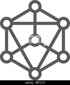 Blockchain la technologie, chaîne, bloc cryptocurrency, bitcoin, l'icône de la ligne de touche numérique. Banque D'Images