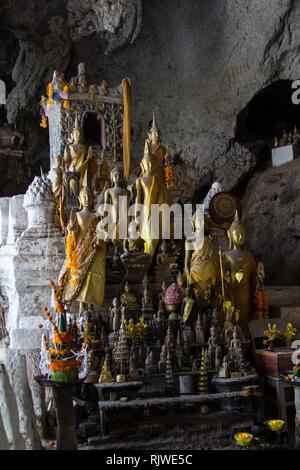 Statues de Bouddha dans la grotte de Pak Ou inférieure ou les grottes des mille bouddhas en plus du Mékong à 25 km en amont de Luang Prabang au Laos